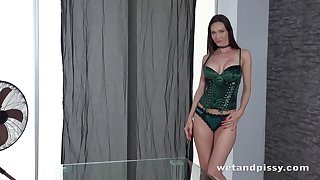 Alluring dirty nympho Cynthia Vellons pisses and masturbates mortal physically