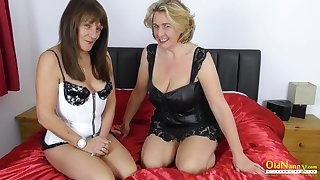 Super hot massage and lesbian masturbation of two milfs fingring