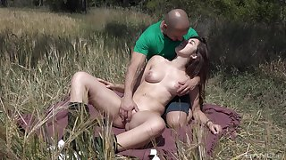 Outdoors gender between a lucky guy increased by brunette girl Diana Rius