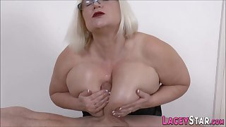 Big-Breasted brit granny blowing and boob fucks