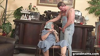 Disgusting fat granny gives a blowjob and rimjob to a handful of strange man