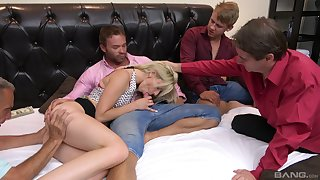 Emaciated blonde sucks a bunch of dicks in a unrestricted diggings orgy
