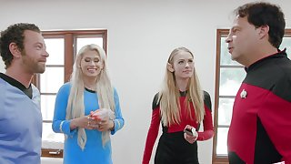 Sexy nude blondes apportionment the load of shit in kinky problem show