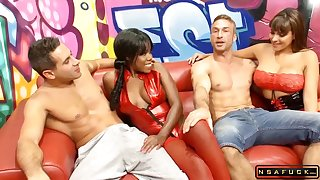 Raunchy Ebony And White Girl In Rough Foursome With Two Big Dicks