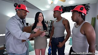 Bitch gets blacked nearly merciless scenes be worthwhile for gangbang sex