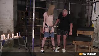 Masked twink endures superannuated man's castigation in sexual XXX attraction