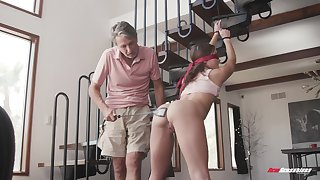 Older man fucks his submissive niece in both her tight holes