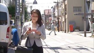Busty Japanese model Mizuno Yoshie enjoys getting fucked stranger behind