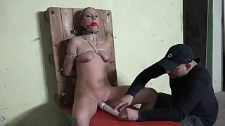 Gagged blonde endures barbarous maledom superior to before cam