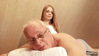 Pretty hot young masseuse is quite busy with riding cock of elderly dependence