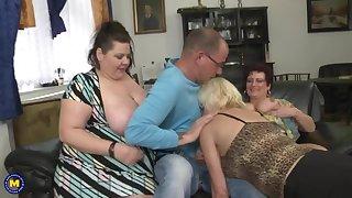 Busty mature MOMs attack lucky boy