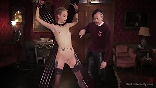 Skinny blonde plays submissive for her old old hand