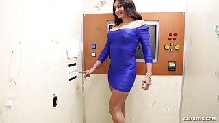 Brunette pornstar Claudia Valentine on her knees tugging a chubby weasel words
