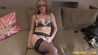 Mature blonde Summer In the best of health with glasses fucked on the fake casting