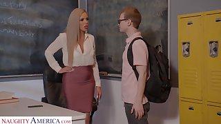 Horny nerdy MILFie tutor Nina Elle fucks amply with her student on the desk