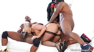 Jet-black studs make a mess be incumbent on horny light-complexioned London Tributary during rough gangbang